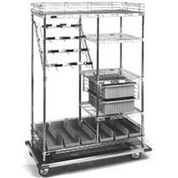 "24"" x 60"" Combination Style - Catheter Procedure Cart. Dolly with 36"" Side Shelves and (4) 24"" Bars, 16 Hooks, 5 Maximum Number of Hooks Per Bar and 2 Maximum Number of Boxes. 1 Tote Slides, 6 Super, #SMS-86-CPC6036D"