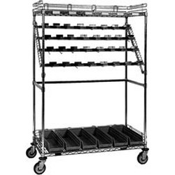 "24"" x 60"" Bulk Storage - Catheter Procedure Cart, (4) 60"" Bars, 40 Hooks, 17 Maximum Number of Hooks Per Bar, 6 Super Bins and 6 Ledges, #SMS-86-CPC60B"