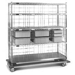 "24"" x 60"" x 70"" Exchange Carts - Ecdt Series, (1) 3"" Tote Boxes, (4) 6"" Tote Boxes, (1) 9"" Tote Boxes, and 4 Wire Shelves (1-Solid), #SMS-86-ECDTS2460C"