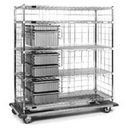 "21"" x 60"" x 72"" Exchange Carts - Ecet Series, (1) 3"" Tote Boxes, (4) 6"" Tote Boxes, (1) 9"" Tote Boxes, and 4 Wire Shelves (1-Solid), #SMS-86-ECETS2160C"