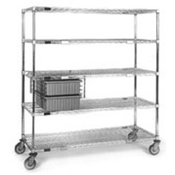 "21"" x 60"" x 69"" Exchange Carts - Ect Series, 2 Tote Boxes, 4 Wire Shelves (1-Solid), #SMS-86-ECTS2160C"