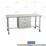Stainless Prep Table with Drawers | Wrapping Workbench