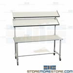 Stainless Work Table with Shelves | Sterile Prep Workstation