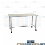 Stainless Prep Tables with Wheels | Hospital Cleanroom Table