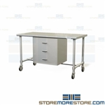 SPD Stainless Packing Workstation| Mobile Sterile Drawer Table