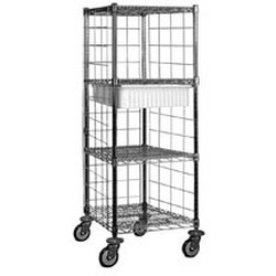 "24"" x 24"" Steril-Eze® Open Wire Surgical Case Carts with 4 Wire Shelves, 1 Tote Box, #SMS-86-OCC2424S"