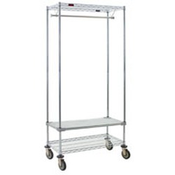 "18"" x 36"" Mobile Garment Rack, with One Top and One Bottom Wire Shelf, Plus One Solid Shelf, #SMS-86-URS1836C"