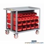 Rolling Bin Cart Small Parts Trolly Mobile Storage Cubbies Small Parts Shelves