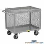 Wire Mesh Enclosed Dolly Cart Mobile Locking Bin Bulk Storage Little Giant