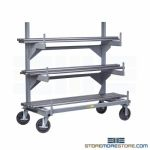 Mobile Cantilever Rack Rolling Bar Stock Storage Shelf Arms Three Levels Racking