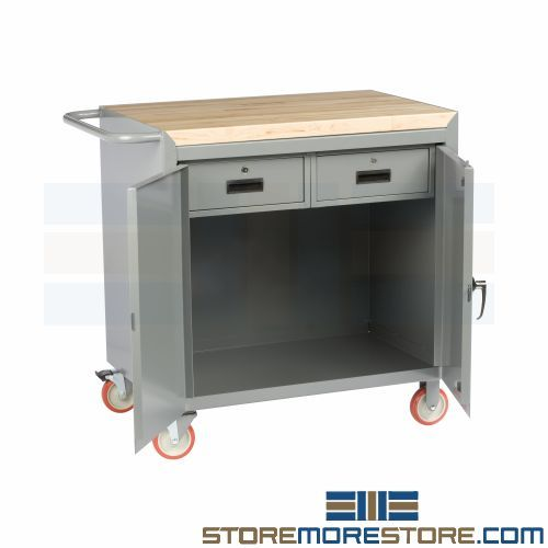 Two Drawer Mobile Bench Butcher Block Top Industrial