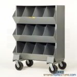 Rolling Bin Cabinet Hardware Storage Cubby Shelves Mobile Bolt Rack Small Parts