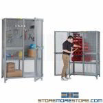 Wire Mesh Tool Storage Locker Pegboard Cabinet Locking Doors Ventilated Welded