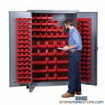 Louvered Panel Storage Cabinet Parts Bins Locking Inventory Management
