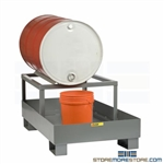 Spill Control Drum Rack 33-Gallon Sump Capacity Fluid Containment Fork Liftable