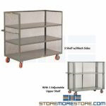 Industrial Order Picking Cart Rolling Shelves Diamond Mesh Little Giant
