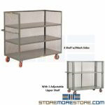 3-Sided Diamond Mesh Shelving Cart Industrial Warehouse Picking