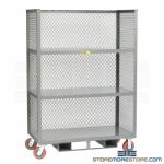 Three-Sided Fork Liftable Cart Expanded Metal Mesh Shelf Dolly Truck Little Giant
