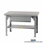 Adjustable Steel Table Bench Drawer Industrial Worktable Workbench Welded