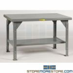 Adjusting 10,000 Worktable Change Table Height Warehouse Industrial Little Giant