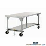 "Worktable with Wheels 7'x42"" Mobile Steel Bench Warehouse Industrial"