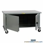 Rolling Cabinet Bench Locking Doors Wheels Steel Heavy-Duty Industrial