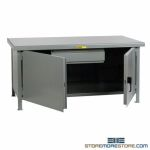 Industrial Bench Cabinet 6'x3' Hinged-Door Workbench Metal Worktable Table Top