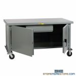 Rolling Drawer Workbench Metal Top Cabinet Doors Heavy-Duty Industrial