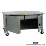 Wheeled Workbench Cabinet Steel Drawers Doors Top Metal Worktable Little Giant