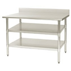 "24"" x 132"" Extra/Replacement 18/4 Stainless Steel Undershelf for Worktables. Fits 24"" Table, #SMS-88-24132SADJUS-18/4"