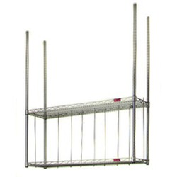 "14"" x 96"" Wall Mounted Boat Rack. Includes: Four 45"" Posts with 3/8-16 Nut Welded On Top. Two Wire Shelves, #SMS-88-BRC8"