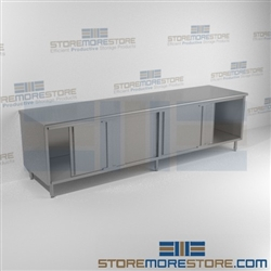 "24"" x 120"" Spec-Master® Enclosed Worktable with Flat Top and Sliding Doors: Two Sets, #SMS-88-CB24120SE"