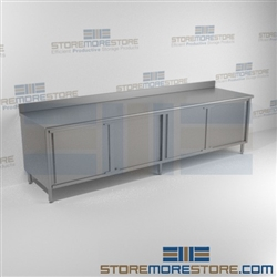 "24"" x 120"" Spec-Master® Enclosed Worktable with Backsplash and Sliding Doors: Two Sets, #SMS-88-CB24120SE-BS"
