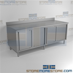 "24"" x 84"" Spec-Master® Enclosed Worktable with Backsplash and Sliding Doors: Two Sets, #SMS-88-CB2484SE-BS"