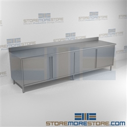 "24"" x 120"" Spec-Master® Enclosed Worktable with Backsplash and Hinged Doors: Two Sets, #SMS-88-CBH24120SE-BS"