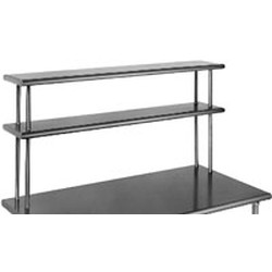 "12"" x 60"" 16/3 Gauge, Double Deck Non-Adjustable Overshelf, #SMS-88-DOS1260-16/3"
