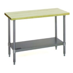 "24"" x 96"" Hardwood Table with Flat Top and Galvanized Adjustable Undershelf, #SMS-88-MT2496B"