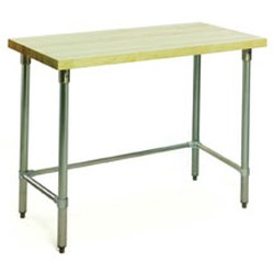 "24"" x 96"" Hardwood Table with Flat Top and Stainless Steel Tubular Base, #SMS-88-MT2496ST"