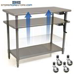 Rolling Adjustable Height Counter | Stainless Steel Table