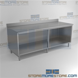 "24"" x 120"" Spec-Master® Enclosed Worktable with Backsplash and Open Front, #SMS-88-OB24120SE-BS"