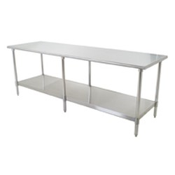 "24"" x 108"" 16/430 Stainless Steel Top Worktable; Flat Top, Galvanized Legs and Undershelf - Budget Series with 6 Legs, #SMS-88-T24108B"