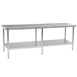 "24"" x 108"" 14/304 Stainless Steel Top Worktable; Flat Top, Galvanized Legs and Undershelf - Spec-Master® Marine Series with 6 Legs. (Features Marine Counter Edge To, #SMS-88-T24108EM"