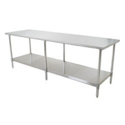 "120""W x 24""D 16-gauge/430 Stainless Steel Top Worktable; Flat Top, with 6 Stainless Steel Legs and Undershelf, #SMS-88-T24120SB"