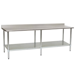 "120""W x 24""D 14-gauge/304 Stainless Steel Top Worktable; Backsplash, with 6 Stainless Steel Legs and Undershelf, #SMS-88-T24120SE-BS"