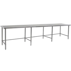 "132""W x 24""D 14-gauge/304 Stainless Top Worktable with Marine Counter Edge and 8 Galvanized Tubular Legs, #SMS-88-T24132GTEM"