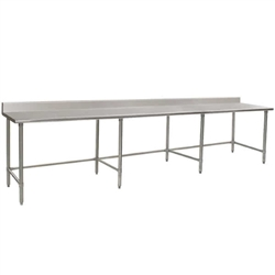 "132""W x 24""D 16-gauge/430 Stainless Steel Top Worktable; Backsplash, with 8 Stainless Steel Tubular Legs, #SMS-88-T24132STB-BS"