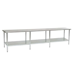 "144""W x 24""D 16-gauge/304 Stainless Steel Top Worktable; Flat Top, with 8 Stainless Steel Legs and Undershelf, #SMS-88-T24144SEB"