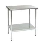 "24""W x 24""D 14-gauge/304 Stainless Steel Top Worktable; Flat Top, with 4 Galvanized Legs and Undershelf, #SMS-88-T2424E"