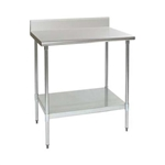 "24""W x 24""D 14-gauge/304 Stainless Steel Top Worktable; Backsplash, with 4 Galvanized Legs and Undershelf, #SMS-88-T2424E-BS"