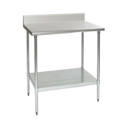 "24"" x 24"" 14/304 Stainless Steel Top Worktable; Backsplash, Galvanized Legs and Undershelf - Spec-Master® Series with 4 Legs, #SMS-88-T2424E-BS"